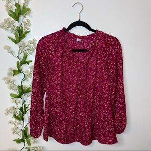 Old Navy S maroon red floral peplum blouse